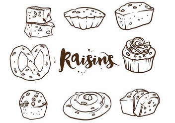Raisins Cake Set - vector gratuit #371107