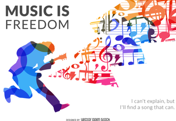 Music is freedom silhouette poster - vector gratuit #371217