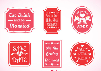 Wedding Pink Labels Vector - vector gratuit #371327