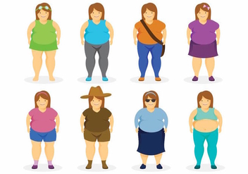 Fat Women Set - vector #371687 gratis