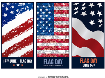 3 Flag Day banners - vector gratuit #371977