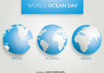 World Ocean Day 3 world map design - Free vector #371987