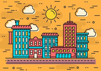 Free Linear Seaside City Vector Illustration - Free vector #372147