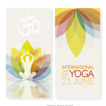 Yoga Day vertical banner set - бесплатный vector #372267