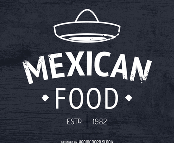 Mexican food logo with hat - Free vector #372277