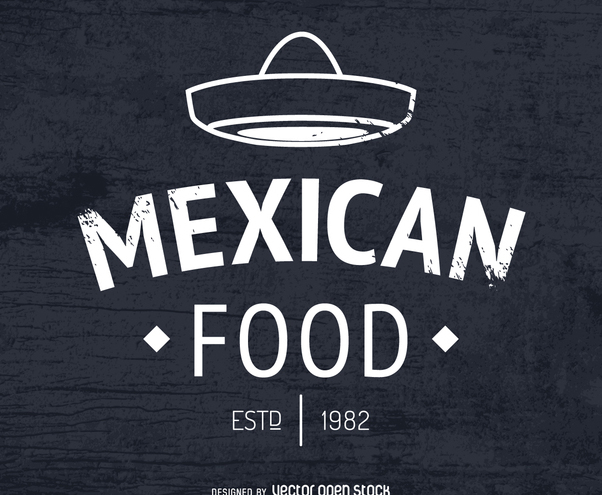 Mexican food logo with hat - vector gratuit #372277