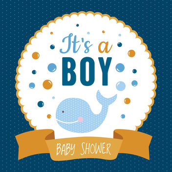 Boy baby shower design - vector gratuit #372347