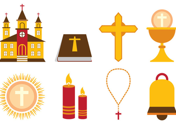 Set Of Eucharist Vector Icon - vector gratuit #372447