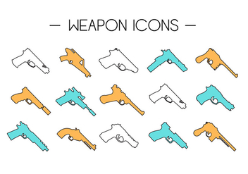 Gun Collection Icons - vector #372617 gratis