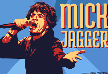 Mick Jagger singing illustration - бесплатный vector #372787