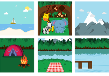 Family Picnic Place Vectors - бесплатный vector #372877