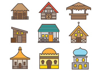 Free Shack Icons Vector Pack Two - Free vector #372927