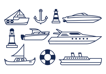 Free Nautical Icons - vector #372977 gratis