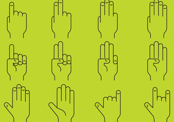 Hands Line Icons - Free vector #372997