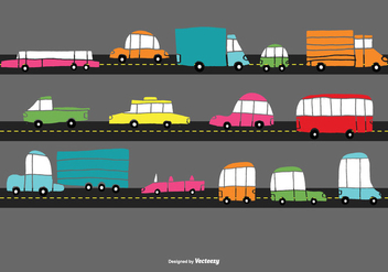 Hand Drawn Traffic Car Vectors - Free vector #373007