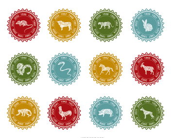 Chinese zodiac label set - vector #373037 gratis