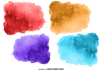 Watercolor stain set - vector gratuit #373057