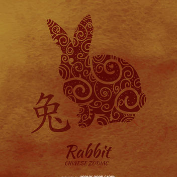 Rabbit drawing chinese horoscope - Free vector #373067