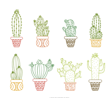 Cactus outline drawings set - vector #373077 gratis