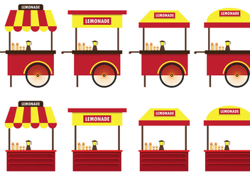 Set Of Lemonade Stand Vector - Free vector #373357