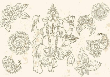 Ganesha And Mehndi Symbols - бесплатный vector #373757