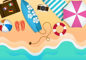 Free Beach Theme Illustration Vectors - бесплатный vector #373857