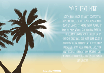 Beach Scene Text Template - vector gratuit #373917