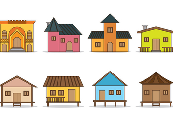 Set Of Shack Vector Icons - vector #373937 gratis