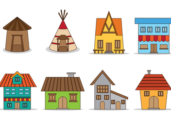 Set Of Shack Vector - Free vector #373957