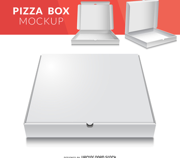 Pizza box packaging mockup - бесплатный vector #373997