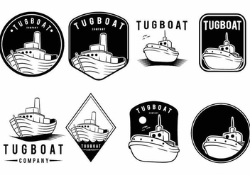 Tugboat Badge Set - vector gratuit #374107