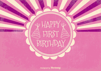 Retro First Birthday Illustration - vector gratuit #374217