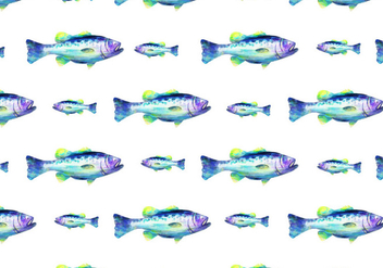 Free Vector Watercolor Bass Fish Background - Free vector #374257