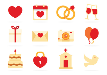 Free Wedding Flat Icons - бесплатный vector #374547