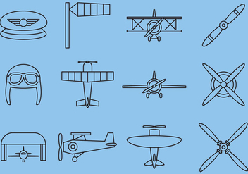 Retro Airplane Line Icons - Free vector #374957