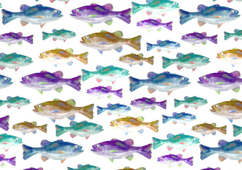 Free Vector Watercolor Bass Fish Background - Free vector #375107