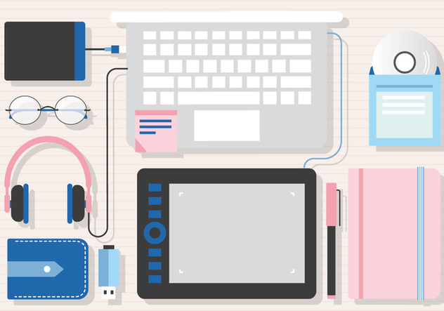 Free Desk Work Space Vector - Free vector #375257