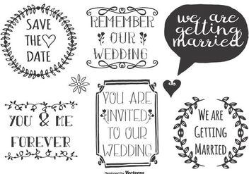 Cute Wedding Doodle Labels - Free vector #375297