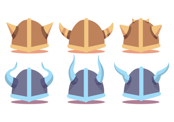 Viking Helmet Vector Set - Free vector #375527