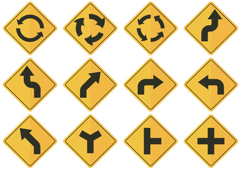 Road Sign Arrow Vectors - vector gratuit #376047