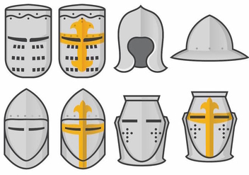 Templar Knight Helmet Vector Set - Kostenloses vector #376057