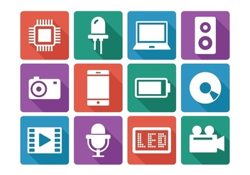 Flat Technology Icon Set - Kostenloses vector #376297
