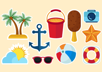 Free Beach Icons Vector - Free vector #376377