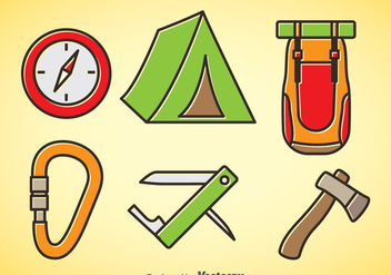 Mountainer Cartoon Icons - vector gratuit #376387