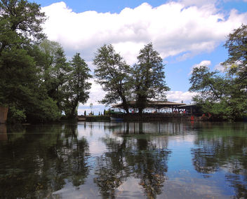 Macedonia (Struga-St Naum Springs) Cafe with beautiful reflections of trees - image gratuit #376417