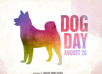 Colorful Dog Day silhouette - vector gratuit #376537