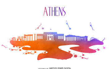 Athens watercolor skyline silhouette - Free vector #376647