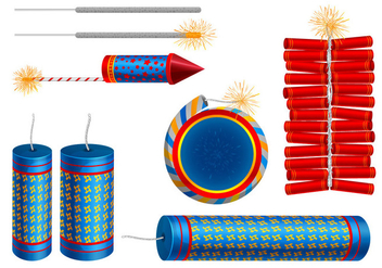 Fire Cracker Vector Set - vector gratuit #376847