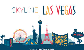 Las Vegas illustrated skyline - vector gratuit #376857
