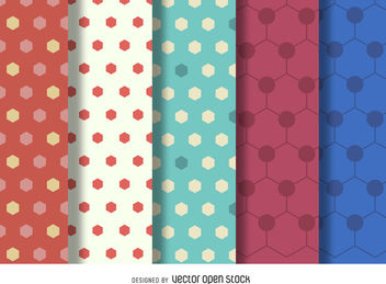 Hexagon polygonal pattern set - Free vector #376897
